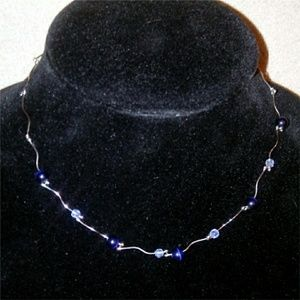 Jewelry - Silver Blue + Clear Necklace